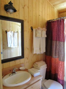 Gooswing Ranch Pioneer cabin bathroom