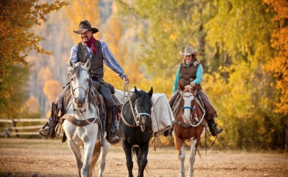 Goosewing Ranch Pack Trip in the autumn just outside of Jackson Hole Wyoming.