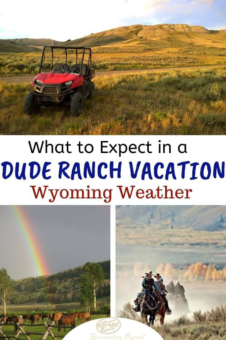 When thinking of the Wild West one tends to imagine hot sunshine, beautiful mountains, majestic wild horses, and dusty old cowboys. While some of those things are true and others have been somewhat tamed, Wyoming's western weather still remains untamed and unpredictable.Get ready for a Wyoming dude ranch vacation by being informed about what to expect with the weather and how to get ready. #Wyoming #thatsWY #JacksonHole #duderanch #weather