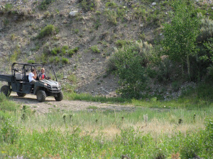 Boys on the UTV near Goosewing Ranch