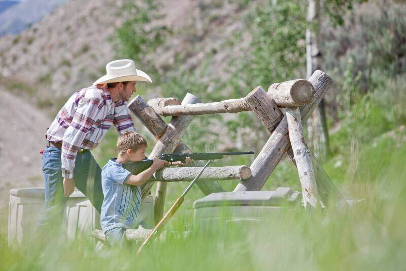 Gift Ideas for Travelers: Dude Ranch Vacation at Goosewing Ranch. Target shooting is fun for all ages.
