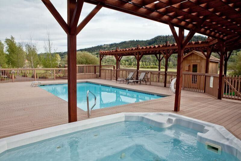 One of the most important tips for our dude ranch packing list: pack a bathing suit for our pool, sauna and hot tub!