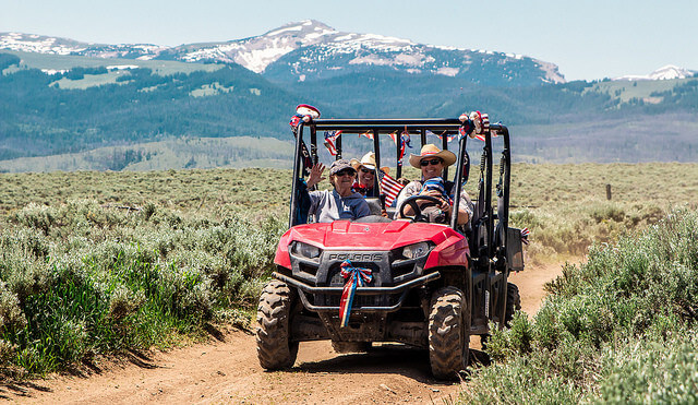 Every group gets a UTV to explore the Jackson Hole landscape while glamping at Goosewing Ranch.