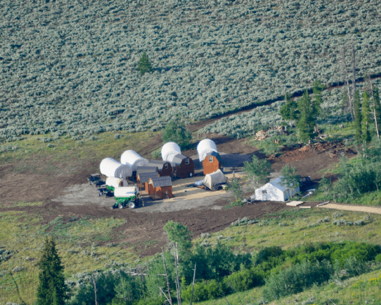 Jackson Hole vacation | Aerial view of the glamping camp.