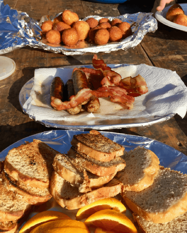 Jackson Hole vacation | Breakfast of champions at glamping camp includes eggs, donut holes, sausage and bacon.