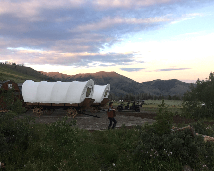 Goosewing Ranch has one of a kind glamping site with covered wagons if your family would prefer these accommodations for a family reunion.