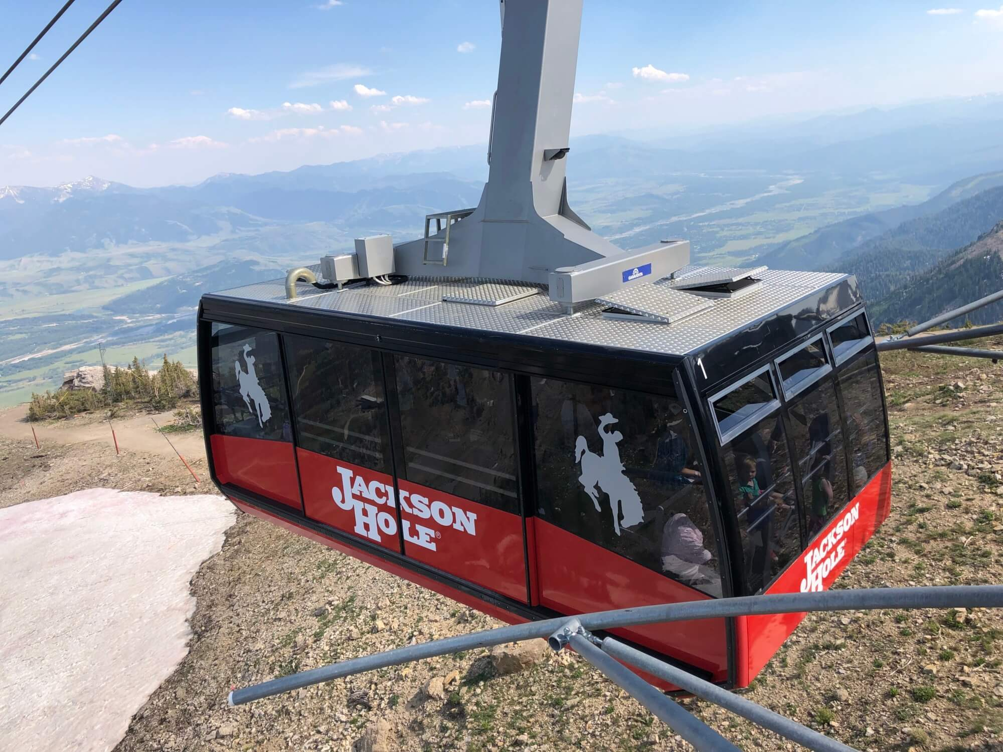 The Jackson Hole Aerial Tram at Teton Village takes guests up to Rendezvous Peak and gives stunning views of Jackson Hole.