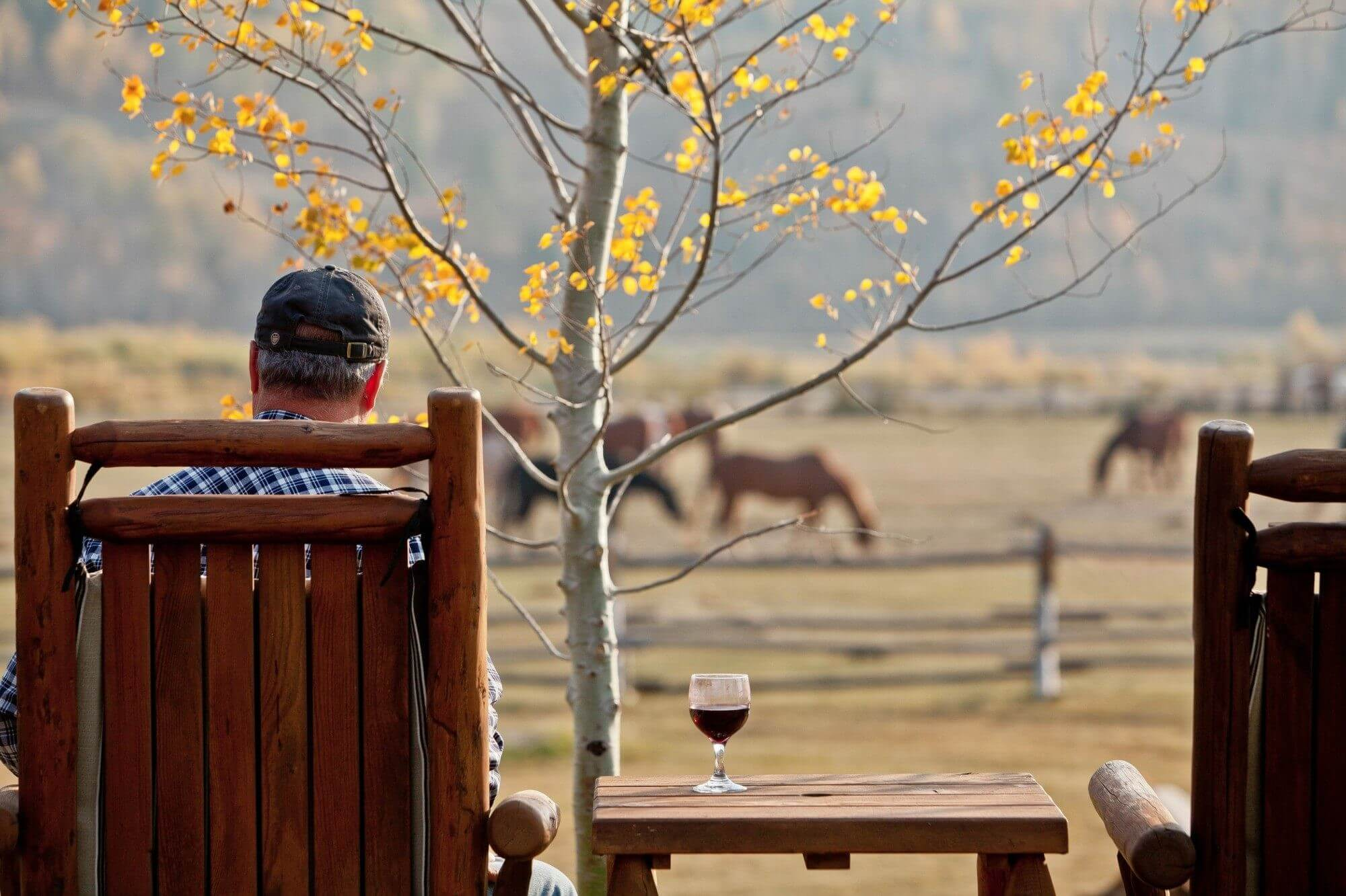 Sit back and have a glass of wine or a beverage overlooking the pasture during your Jackson Hole family vacation at a dude ranch.