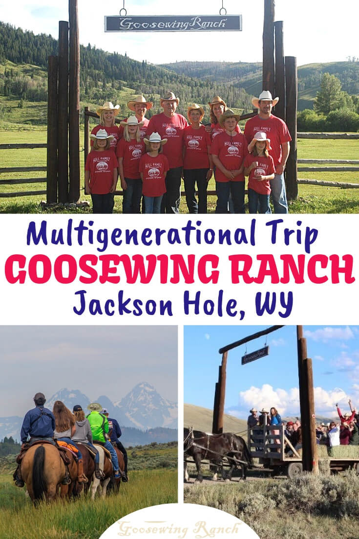 Planning a family reunion or multigenerational vacation? Goosewing Ranch in Jackson Hole, Wyoming has trail rides, exceptional food, and activities galore in an idyllic setting in the Gros Ventre River Valley. With the Grand Teton National Park in our backyard, the outdoors is your family's playground. So grab your boots and hat and saddle up for a memorable family vacation. #multigenerationalvacation #familytravel # familyreunion #duderanch #familyvacation