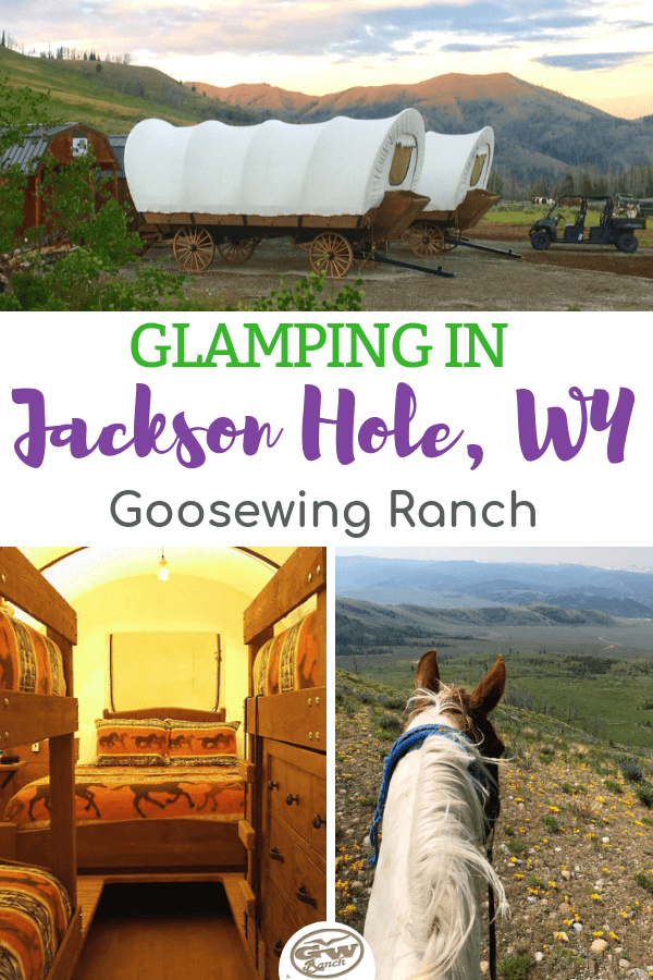 Jackson Hole, Wyoming: national parks, wildlife, and glamping! Goosewing Ranch offers a glamping experience featuring covered wagons as accommodations, a dedicated chef, personal wrangler, and activities galore. This is a unique vacation you'll remember years to come. Get the lowdown on our Glamping camp. #duderanch #glamping #JacksonHole #Wyoming #GoosewingRanch